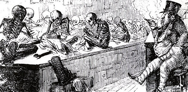 Victorian cartoon highlighting the plight of the poor working in sweatshops