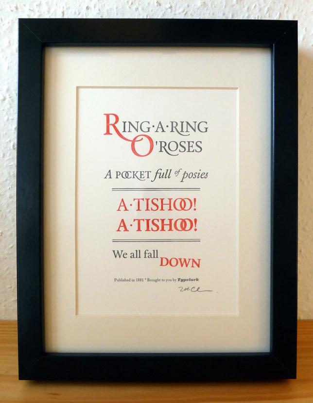 Typelark Ring-A-Ring O' Roses letterpress print