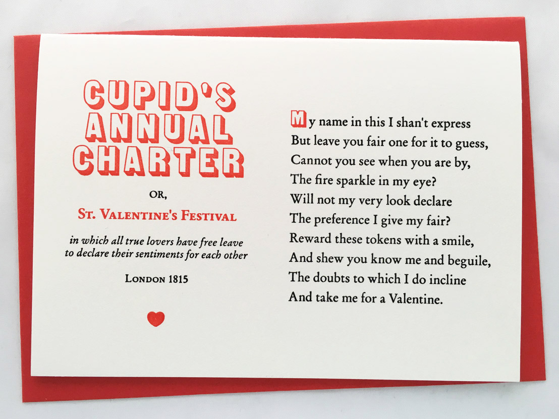 Cupid's Annual Charter Typelark letterpress card