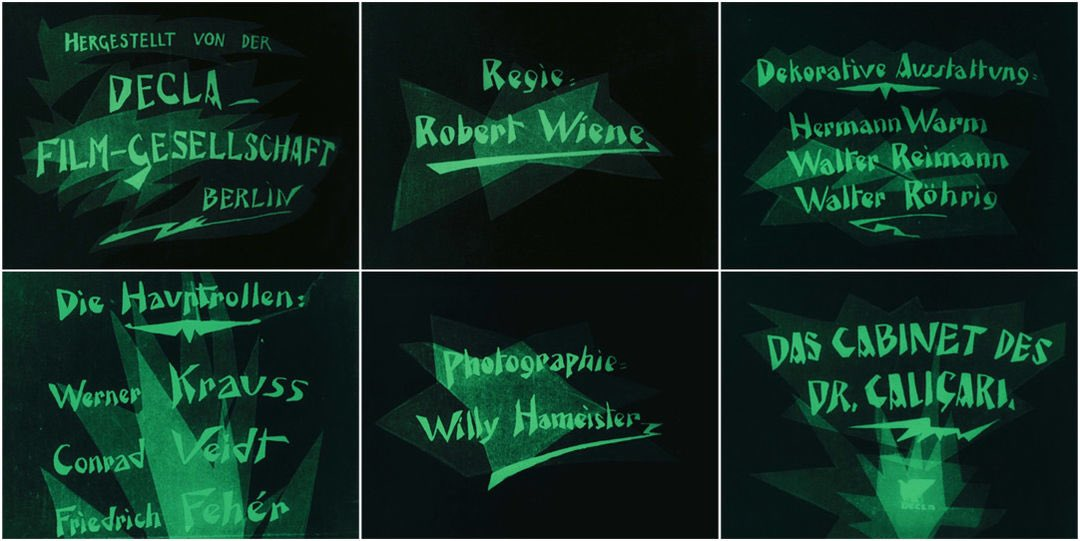 Das Cabinet des Dr. Caligari film titles, 1920
