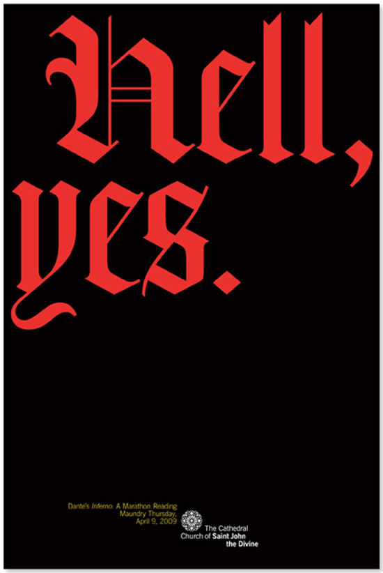 Poster for Dante's Inferno reading, by Michael Bierut
