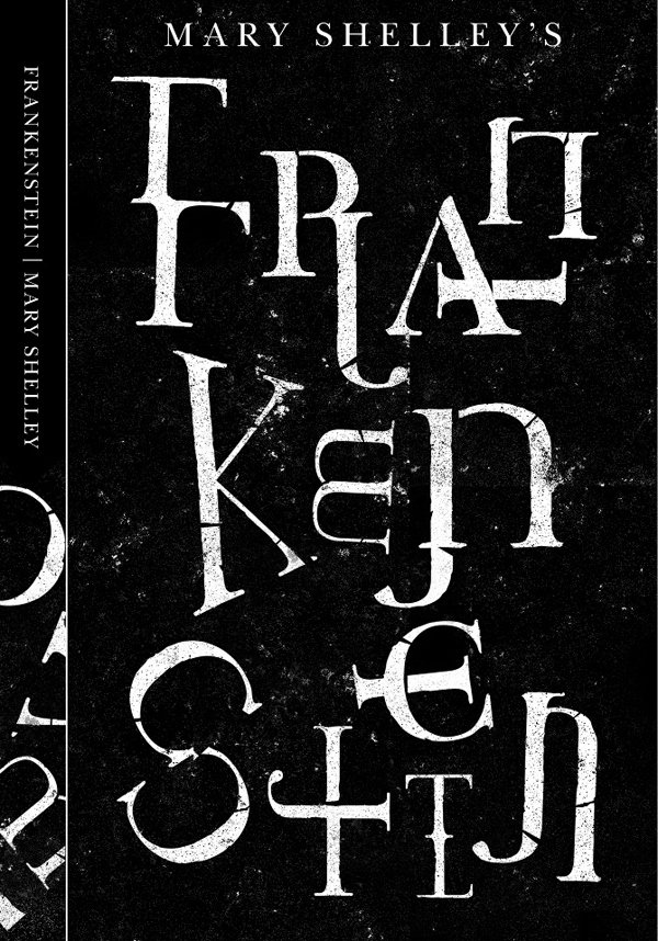 Frankenstein book cover, designer and year unknown via @tartanbaffies